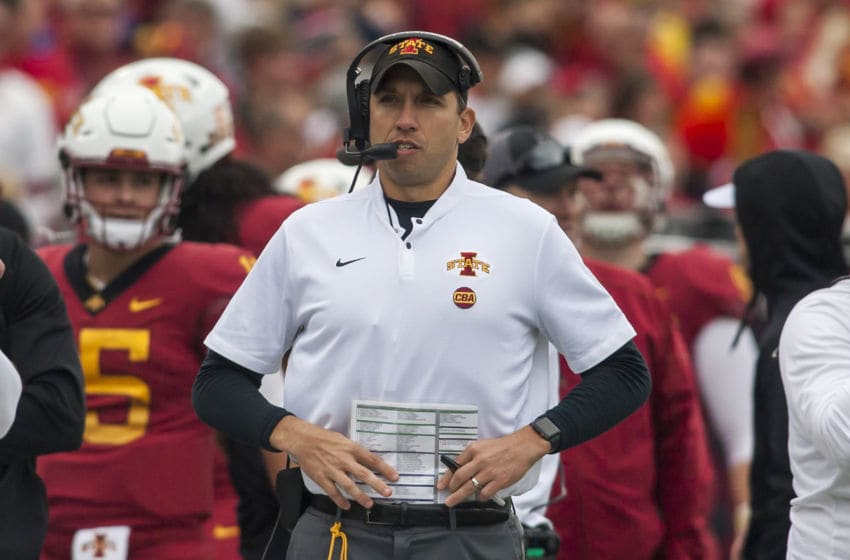 LAWRENCE, KS - NOVEMBER 03: Iowa State Cyclones head coach Matt Campbell watches the run of play from the sideline during the Big 12 matchup between the Iowa State Cyclones and the Kansas Jayhawks on Saturday November 3, 2018 at Memorial Stadium in Lawrence, KS. (Photo by Nick Tre. Smith/Icon Sportswire via Getty Images)