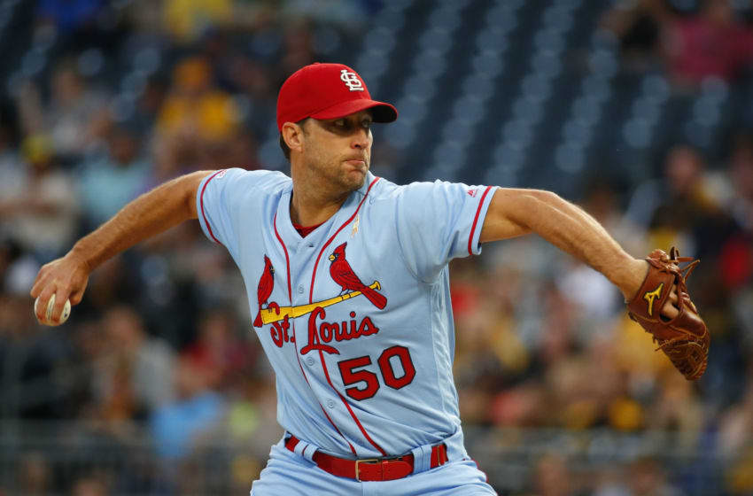 PITTSBURGH, PA - SEPTEMBER 07: Adam Wainwright #50 of the St. Louis Cardinals pitches in the first inning against the Pittsburgh Pirates at PNC Park on September 7, 2019 in Pittsburgh, Pennsylvania. (Photo by Justin K. Aller/Getty Images)
