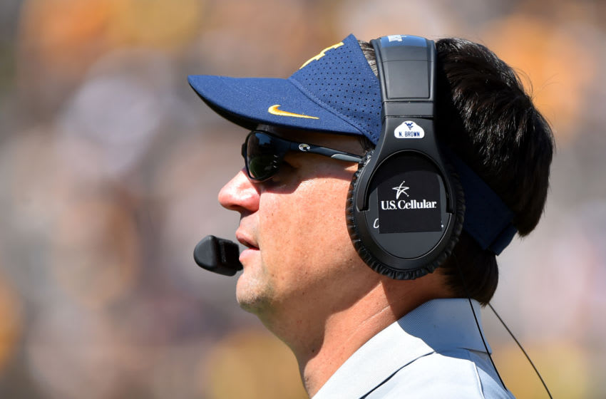 Neal Brown, West Virginia Mountaineers. (Photo by Ed Zurga/Getty Images)
