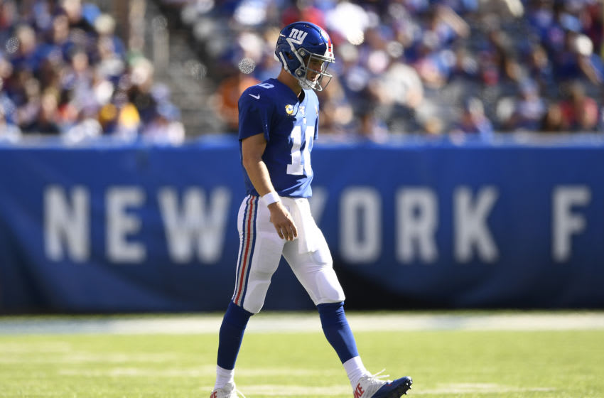 EAST RUTHERFORD, NEW JERSEY - SEPTEMBER 15: Eli Manning #10 of the New York Giants walks onto the field during the third quarter of the game against the Buffalo Bills at MetLife Stadium on September 15, 2019 in East Rutherford, New Jersey. (Photo by Sarah Stier/Getty Images)