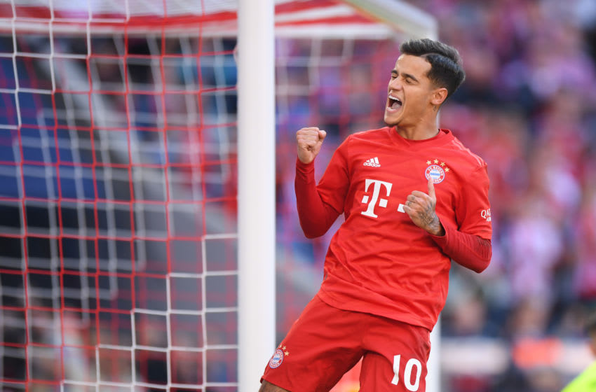 MUNICH, GERMANY - SEPTEMBER 21: Philippe Coutinho of Bayern Munich celebrates scoring his team's third goal during the Bundesliga match between FC Bayern Muenchen and 1. FC Koeln at Allianz Arena on September 21, 2019 in Munich, Germany. (Photo by Sebastian Widmann/Bongarts/Getty Images)