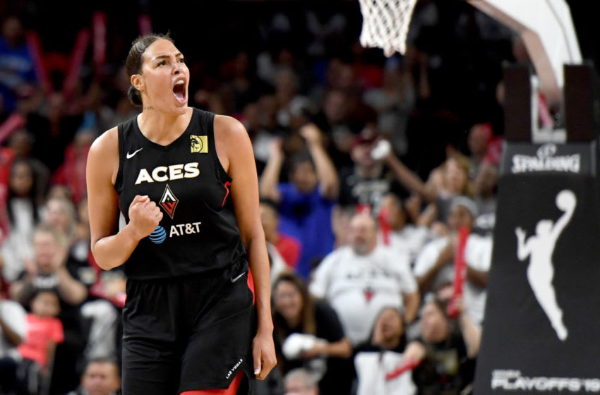 LAS VEGAS, NEVADA - SEPTEMBER 24: Liz Cambage #8 of the Las Vegas Aces reacts after a turnover by the Washington Mystics during Game Four of the 2019 WNBA Playoff semifinals at the Mandalay Bay Events Center on September 24, 2019 in Las Vegas, Nevada. The Mystics defeated the Aces 94-90 and won the series 3-1. NOTE TO USER: User expressly acknowledges and agrees that, by downloading and or using this photograph, User is consenting to the terms and conditions of the Getty Images License Agreement. (Photo by Ethan Miller/Getty Images)