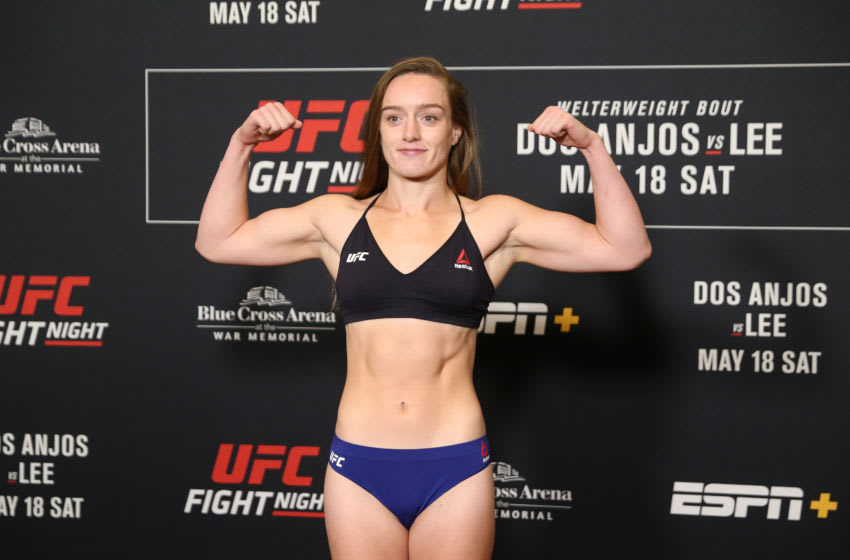 ROCHESTER, NY - MAY 17: Aspen Ladd poses on the scale during the UFC Fight Night weigh-in at Rochester Riverside Hotel on May 17, 2019 in Rochester, New York. (Photo by Michael Owens/Zuffa LLC/Zuffa LLC via Getty Images)