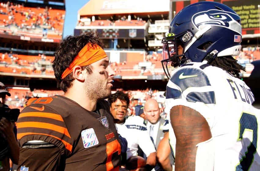 CLEVELAND, OH - OCTOBER 13: Baker Mayfield #6 of the Cleveland Browns shakes hands with Tre Flowers #21 of the Seattle Seahawks after the game at FirstEnergy Stadium on October 13, 2019 in Cleveland, Ohio. Seattle defeated Cleveland 32-28. (Photo by Kirk Irwin/Getty Images)