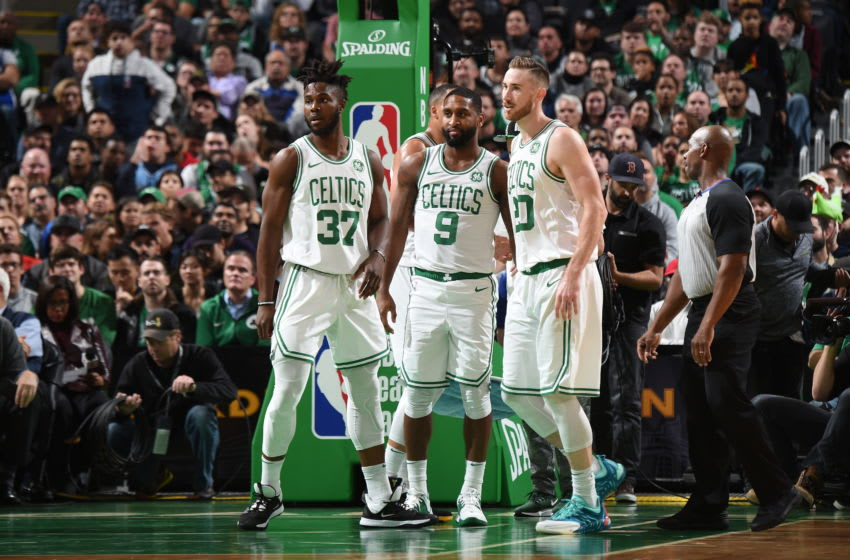 BOSTON, MA - OCTOBER 30: Semi Ojeleye #37, Brad Wanamaker #9, and Gordon Hayward #20 of the Boston Celtics look on against the Milwaukee Bucks on October 30, 2019 at the TD Garden in Boston, Massachusetts. NOTE TO USER: User expressly acknowledges and agrees that, by downloading and or using this photograph, User is consenting to the terms and conditions of the Getty Images License Agreement. Mandatory Copyright Notice: Copyright 2019 NBAE (Photo by Brian Babineau/NBAE via Getty Images)