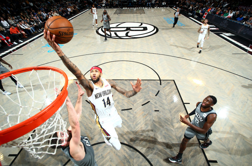 BROOKLYN, NY - NOVEMBER 4: Brandon Ingram #14 of the New Orleans Pelicans shoots the ball against the Brooklyn Nets on November 4, 2019 at Barclays Center in Brooklyn, New York. NOTE TO USER: User expressly acknowledges and agrees that, by downloading and or using this Photograph, user is consenting to the terms and conditions of the Getty Images License Agreement. Mandatory Copyright Notice: Copyright 2019 NBAE (Photo by Nathaniel S. Butler/NBAE via Getty Images)