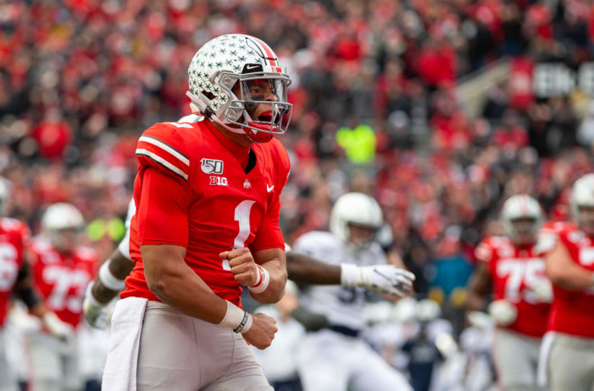 COLUMBUS, OH - NOVEMBER 23: Justin Fields #1 of the Ohio State Buckeyes reacts after running the ball for a first down during game action between the Ohio State Buckeyes and the Penn State Nittany Lions on November 23, 2019, at Ohio Stadium in Columbus, OH. (Photo by Adam Lacy/Icon Sportswire via Getty Images)