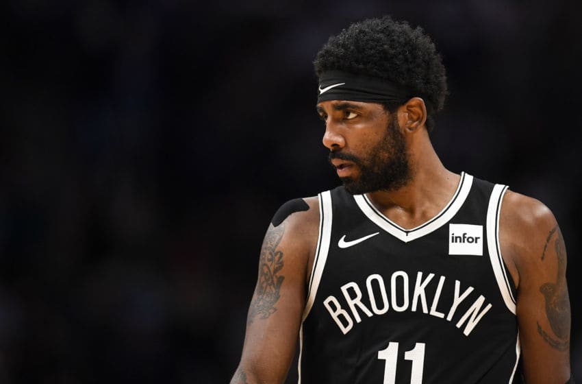 DENVER, CO - NOVEMBER 15: Kyrie Irving (11) of the Brooklyn Nets reacts to the game slipping away against the Denver Nuggets during the fourth quarter of Denver's 101-93 win on Thursday, November 14, 2019. (Photo by AAron Ontiveroz/MediaNews Group/The Denver Post via Getty Images)