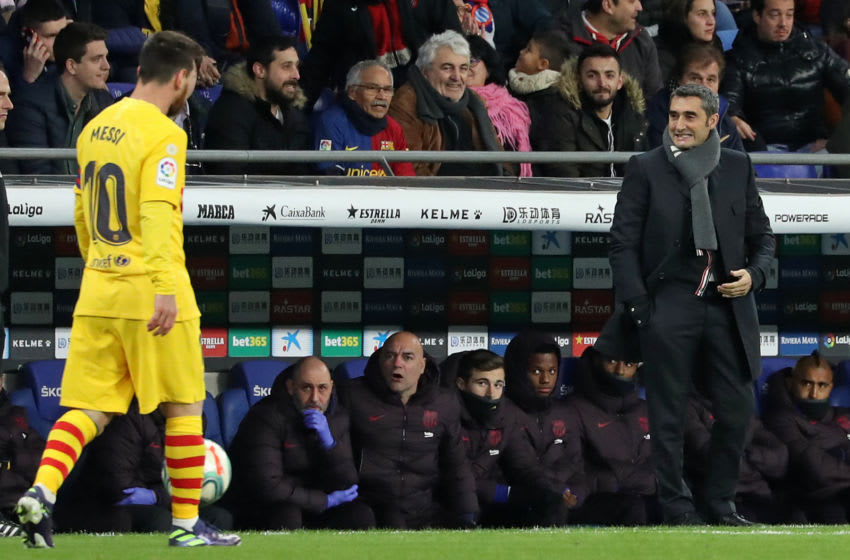 Leo Messi and Ernesto Valverde during the match between RCD Espanyol and FC Barcelona, corresponding to the week 19 of the Liga Santander, played at the RCDE Stadium on 04th January 2020, in Barcelona, Spain. -- (Photo by Urbanandsport/NurPhoto via Getty Images)