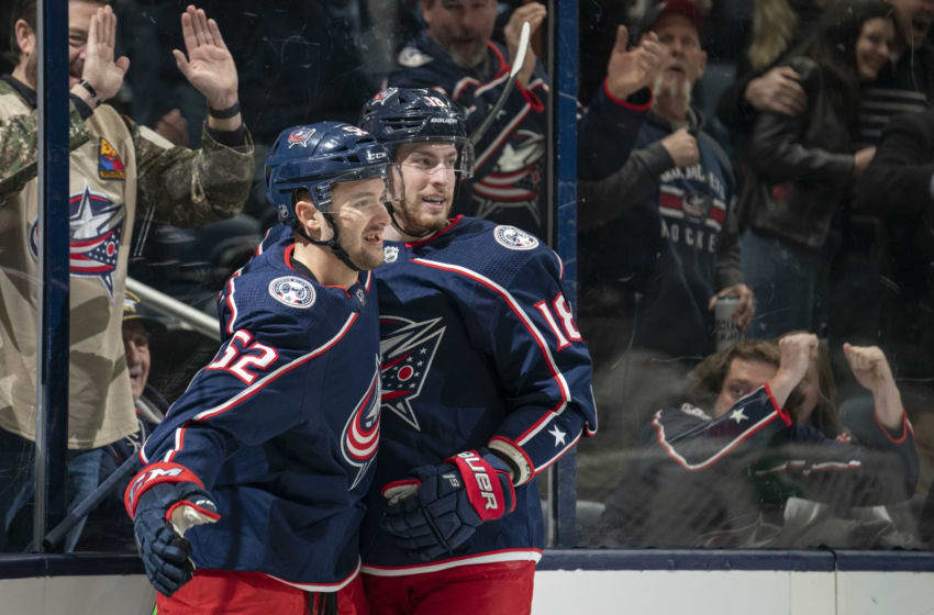 COLUMBUS, OH - JANUARY 16: Columbus Blue Jackets center Emil Bemstrom (52) and Columbus Blue Jackets center Pierre-Luc Dubois (18) celebrate a goal during the game between the Columbus Blue Jackets and the Carolina Hurricanes at Nationwide Arena in Columbus, Ohio on January 16, 2020. (Photo by Jason Mowry/Icon Sportswire via Getty Images)