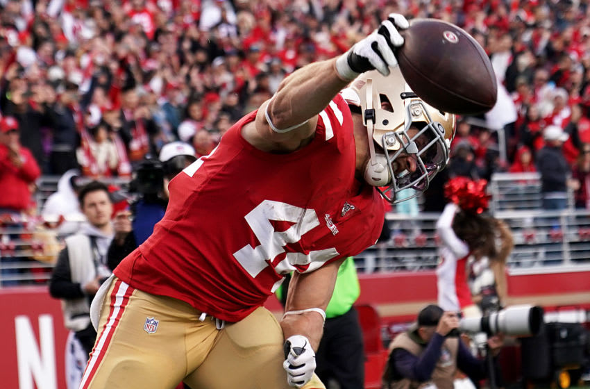 SANTA CLARA, CALIFORNIA - DECEMBER 15: Fullback Kyle Juszczyk #44 of the San Francisco 49ers celebrates a touchdown in the fourth quarter over the Atlanta Falcons during the game at Levi's Stadium on December 15, 2019 in Santa Clara, California. (Photo by Thearon W. Henderson/Getty Images)