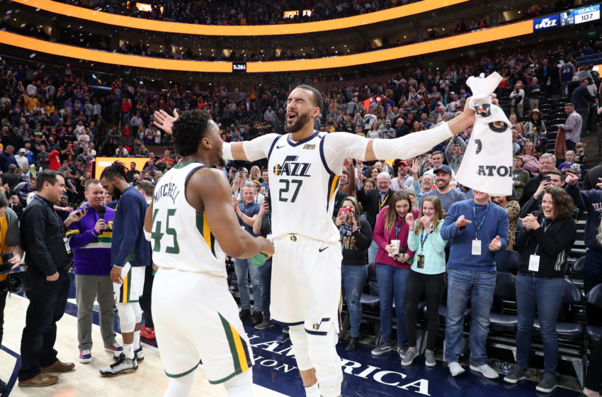 SALT LAKE CITY, UT - JANUARY 25: Donovan Mitchell #45 of the Utah Jazz and Rudy Gobert #27 of the Utah Jazz celebrate after a win against the Dallas Mavericks on January 25, 2020 at vivint.SmartHome Arena in Salt Lake City, Utah. NOTE TO USER: User expressly acknowledges and agrees that, by downloading and or using this Photograph, User is consenting to the terms and conditions of the Getty Images License Agreement. Mandatory Copyright Notice: Copyright 2020 NBAE (Photo by Melissa Majchrzak/NBAE via Getty Images)