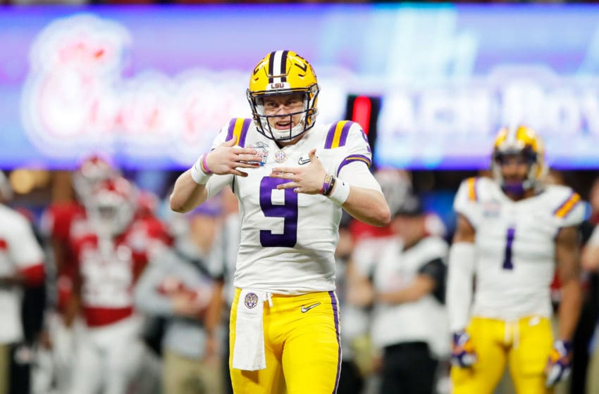 ATLANTA, GEORGIA - DECEMBER 28: Quarterback Joe Burrow #9 of the LSU Tigers celebrates a touchdown in the second quarter over the Oklahoma Sooners during the Chick-fil-A Peach Bowl at Mercedes-Benz Stadium on December 28, 2019 in Atlanta, Georgia. (Photo by Todd Kirkland/Getty Images)