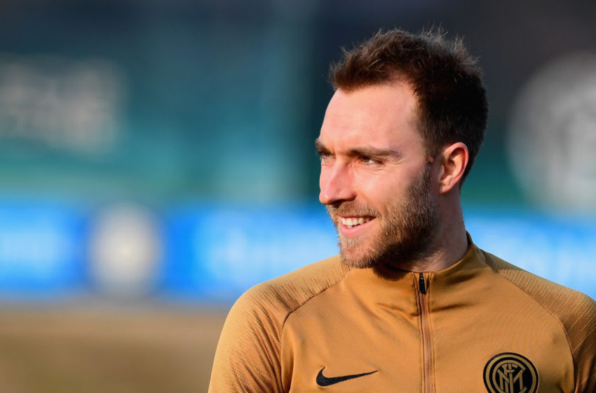 COMO, ITALY - JANUARY 28: Christian Eriksen of FC Internazionale looks on during a FC Internazionale training session at Appiano Gentile on January 28, 2020 in Como, Italy. (Photo by Claudio Villa - Inter/Inter via Getty Images)