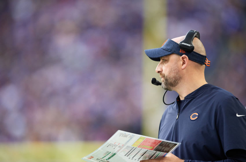 MINNEAPOLIS, MINNESOTA - DECEMBER 29: Head coach Matt Nagy of the Chicago Bears looks on during the game against the Minnesota Vikings at U.S. Bank Stadium on December 29, 2019 in Minneapolis, Minnesota. The Bears defeated the Vikings 21-19. (Photo by Hannah Foslien/Getty Images)