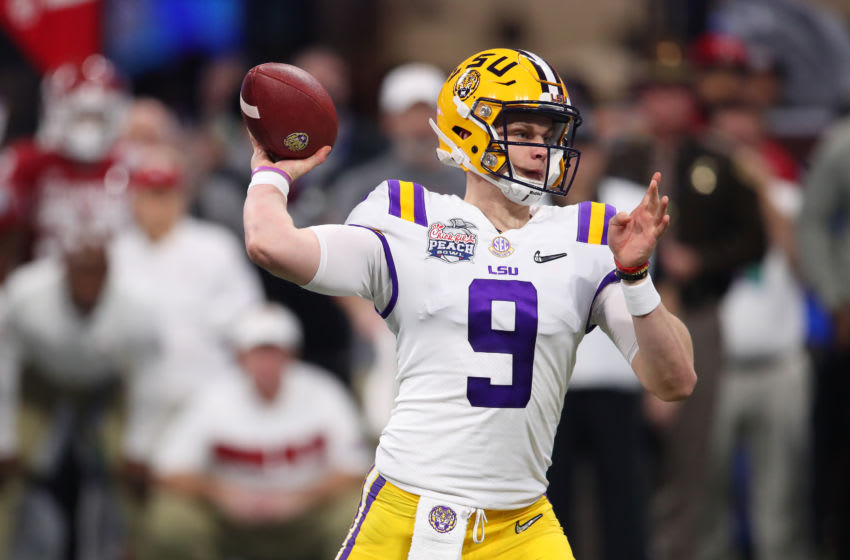 ATLANTA, GEORGIA - DECEMBER 28: Joe Burrow #9 of the LSU Tigers plays against the Oklahoma Sooners during the College Football Playoff Semifinal in the Chick-fil-A Peach Bowl at Mercedes-Benz Stadium on December 28, 2019 in Atlanta, Georgia. (Photo by Gregory Shamus/Getty Images)