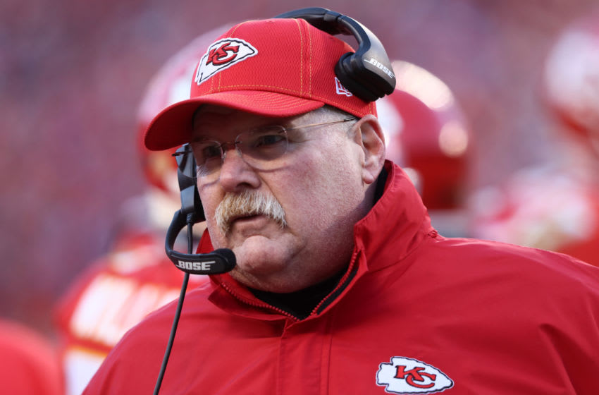KANSAS CITY, MISSOURI - JANUARY 19: Head coach Andy Reid of the Kansas City Chiefs looks on in the second half against the Tennessee Titans in the AFC Championship Game at Arrowhead Stadium on January 19, 2020 in Kansas City, Missouri. (Photo by Jamie Squire/Getty Images)
