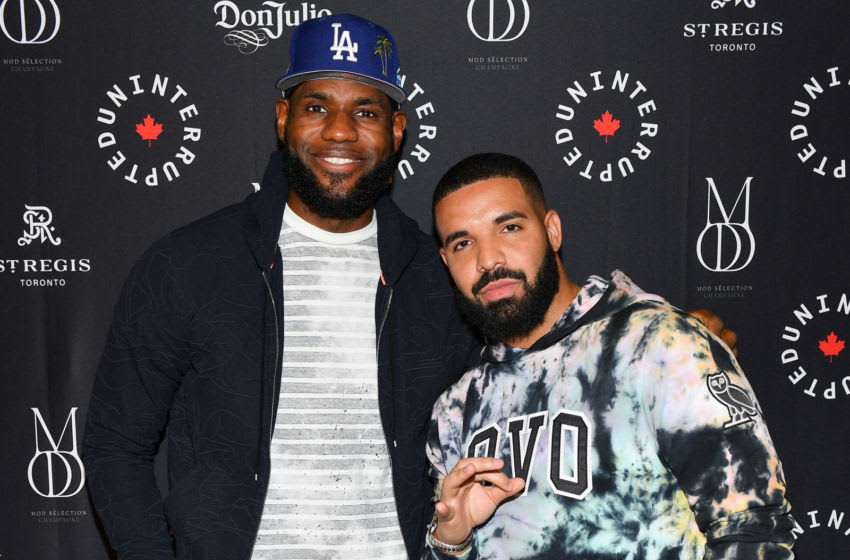Los Angeles Lakers' LeBron James and rapper Drake (Photo by George Pimentel/Getty Images)