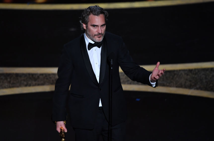 US actor Joaquin Phoenix accepts the award for Best Actor in a Leading Role for