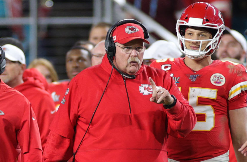 MIAMI, FLORIDA - FEBRUARY 02: Head coach Andy Reid of the Kansas City Chiefs reacts against the San Francisco 49ers during the fourth quarter in Super Bowl LIV at Hard Rock Stadium on February 02, 2020 in Miami, Florida. (Photo by Maddie Meyer/Getty Images)