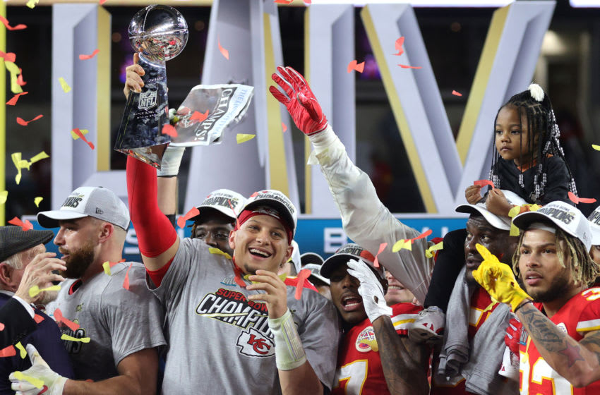 MIAMI, FLORIDA - FEBRUARY 02: Patrick Mahomes #15 of the Kansas City Chiefs raises the Vince Lombardi Trophy after defeating the San Francisco 49ers 31-20 in Super Bowl LIV at Hard Rock Stadium on February 02, 2020 in Miami, Florida. (Photo by Jamie Squire/Getty Images)