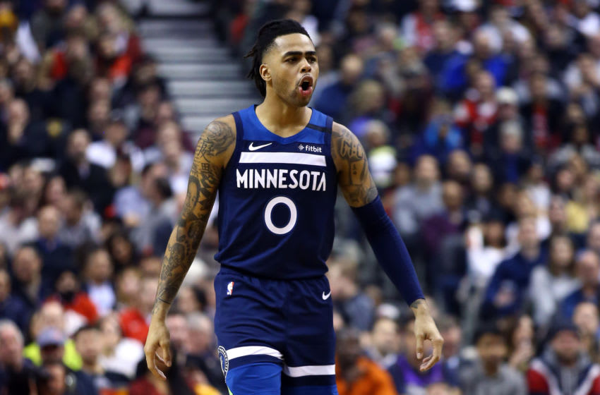 TORONTO, ON - FEBRUARY 10: D'Angelo Russell #0 of the Minnesota Timberwolves reacts during the first half of an NBA game against the Toronto Raptors at Scotiabank Arena on February 10, 2020 in Toronto, Canada. NOTE TO USER: User expressly acknowledges and agrees that, by downloading and or using this photograph, User is consenting to the terms and conditions of the Getty Images License Agreement. (Photo by Vaughn Ridley/Getty Images)