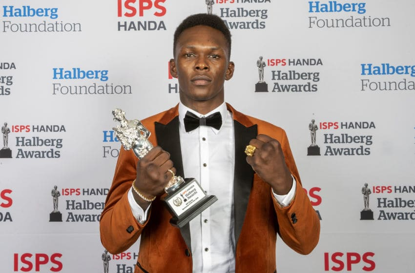AUCKLAND, NEW ZEALAND - FEBRUARY 13: The ISPS Handa Sportsman of the Year Award winner is mixed martial arts Israel Adesanya at the ISPS Handa Halberg Awards on February 13, 2020 in Auckland, New Zealand. (Photo by Dave Rowland/Getty Images)
