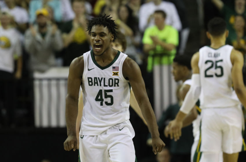 WACO, TEXAS - FEBRUARY 15: Davion Mitchell #45 of the Baylor Bears reacts against the West Virginia Mountaineers during the second half at Ferrell Center on February 15, 2020 in Waco, Texas. (Photo by Ronald Martinez/Getty Images)