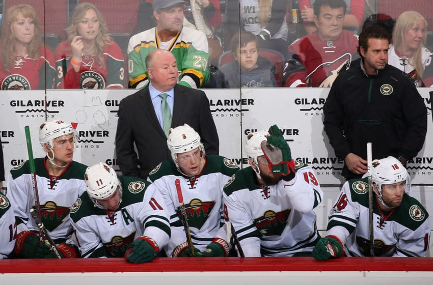 GLENDALE, AZ - APRIL 08: Head coach Bruce Boudreau of the Minnesota Wild watches from the bench during the first period of the NHL game against the Arizona Coyotes at Gila River Arena on April 8, 2017 in Glendale, Arizona. (Photo by Christian Petersen/Getty Images)
