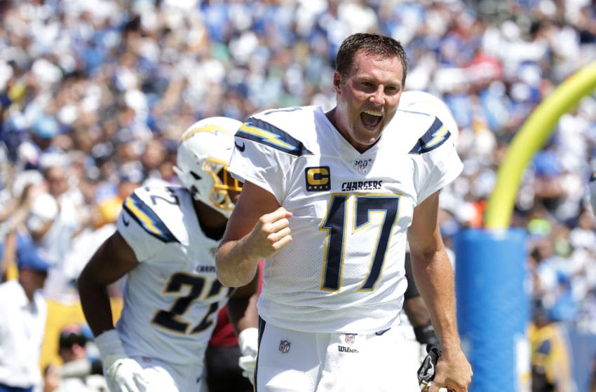 CARSON, CALIFORNIA - SEPTEMBER 08: Philip Rivers #17 of the Los Angeles Chargers celebrates after passing for a touchdown against the Indianapolis Colts in the first quarter at Dignity Health Sports Park on September 08, 2019 in Carson, California. (Photo by Jeff Gross/Getty Images)