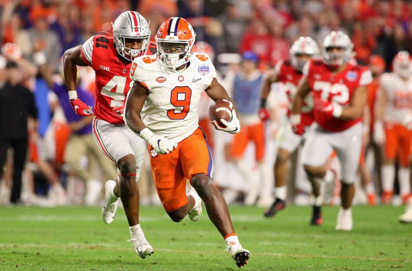 Travis Etienne #9 of the Clemson Tigers (Photo by Christian Petersen/Getty Images)