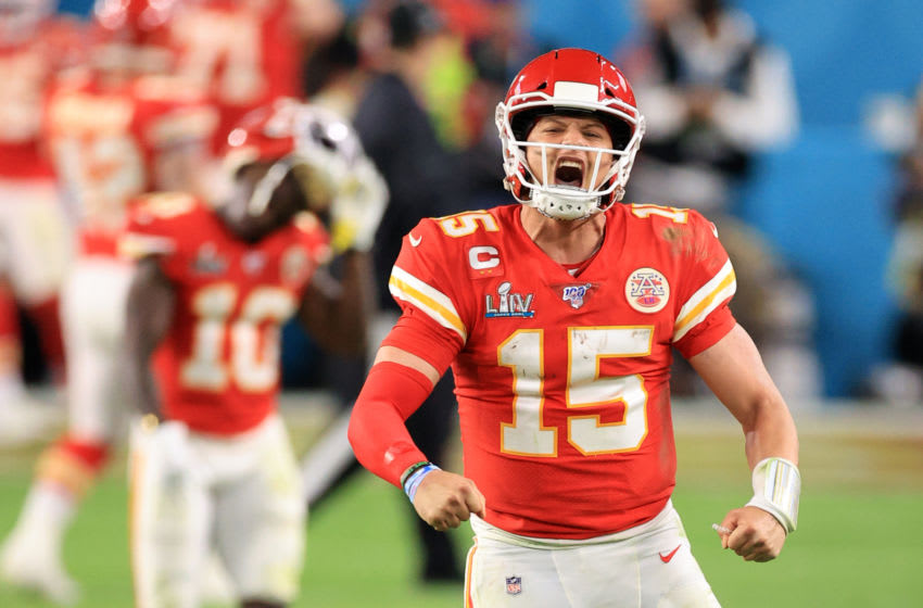 MIAMI, FLORIDA - FEBRUARY 02: Patrick Mahomes #15 of the Kansas City Chiefs celebrates after throwing a touchdown pass against the San Francisco 49ers during the fourth quarter in Super Bowl LIV at Hard Rock Stadium on February 02, 2020 in Miami, Florida. (Photo by Andy Lyons/Getty Images)