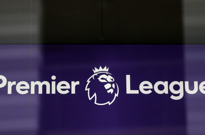 The logo is pictured through a glass window at the headquarters of the English Premier League in London on March 13, 2020. - The English Premier League suspended all fixtures until April 4 on Friday after Arsenal manager Mikel Arteta and Chelsea winger Callum Hudson-Odoi tested positive for coronavirus. (Photo by Isabel Infantes / AFP) (Photo by ISABEL INFANTES/AFP via Getty Images)
