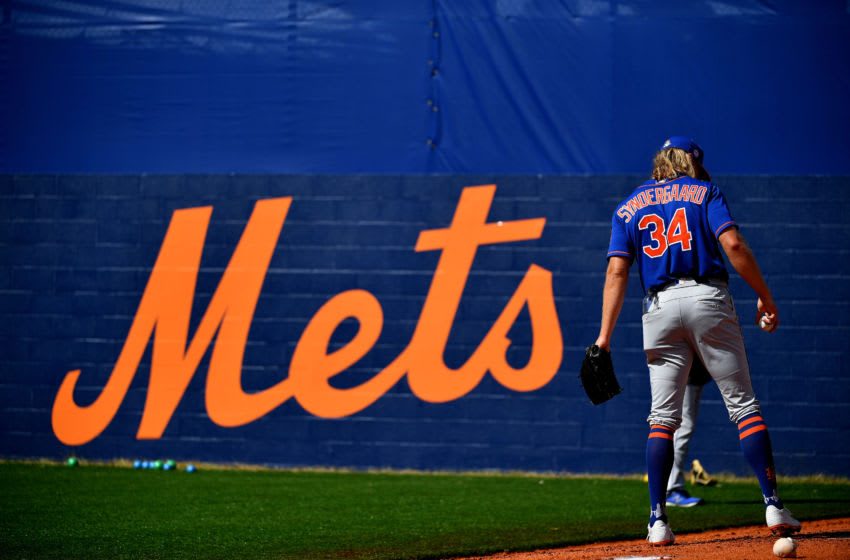 PORT ST. LUCIE, FLORIDA - FEBRUARY 20: Noah Syndergaard #34 of the New York Mets works out in the bullpen during the team workouts at Clover Park on February 20, 2020 in Port St. Lucie, Florida. (Photo by Mark Brown/Getty Images)