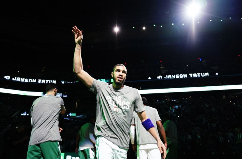 BOSTON, MASSACHUSETTS - MARCH 06: Jayson Tatum #0 of the Boston Celtics is introduced before the game against the Utah Jazz at TD Garden on March 06, 2020 in Boston, Massachusetts. NOTE TO USER: User expressly acknowledges and agrees that, by downloading and or using this photograph, User is consenting to the terms and conditions of the Getty Images License Agreement. (Photo by Omar Rawlings/Getty Images)