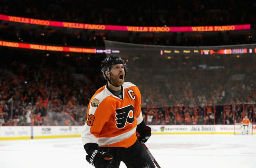 PHILADELPHIA, PA - DECEMBER 08: Claude Giroux #28 of the Philadelphia Flyers celebrates after scoring a second period goal against the Edmonton Oilers at Wells Fargo Center on December 8, 2016 in Philadelphia, Pennsylvania. (Photo by Rob Carr/Getty Images)