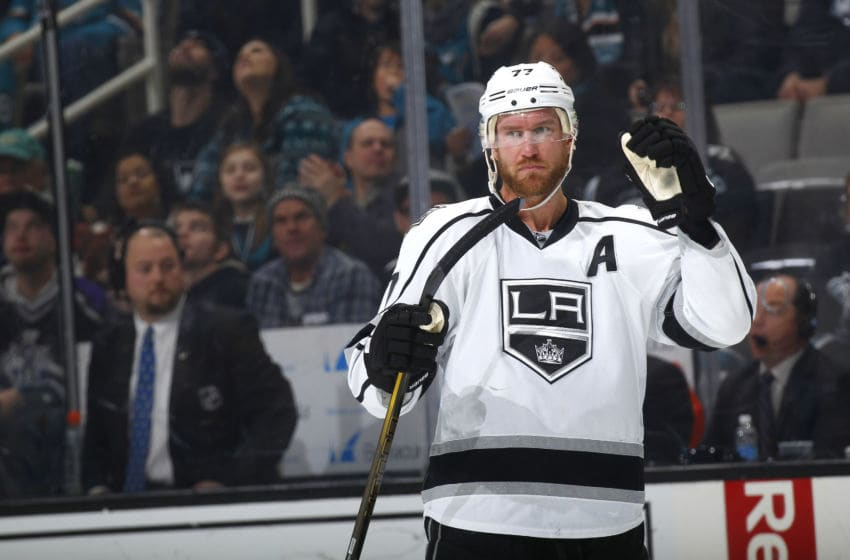 SAN JOSE, CA - JANUARY 03: Jeff Carter #77 of the Los Angeles Kings looks on during the game against the San Jose Sharks at SAP Center on January 3, 2017 in San Jose, California. (Photo by Rocky W. Widner/NHL/Getty Images)