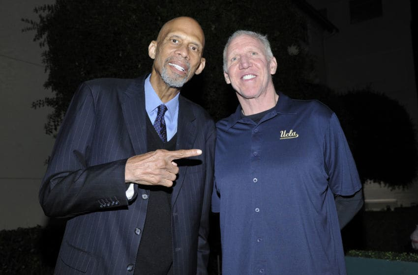 CULVER CITY, CALIFORNIA - APRIL 13: (L-R) Basketball players Kareem Abdul-Jabbar and Bill Walton attend the Fulfillment Fund's Spring Fundraising Celebration Honoring UCLA at Sony Pictures Studios on April 13, 2019 in Culver City, California. (Photo by John Sciulli/Getty Images for Fulfillment Fund)