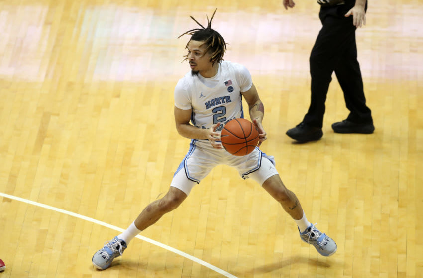 CHAPEL HILL, NC - FEBRUARY 1: Cole Anthony #2 of the University of North Carolina holds the ball during a game between Boston College and North Carolina at Dean E. Smith Center on February 1, 2020 in Chapel Hill, North Carolina. (Photo by Andy Mead/ISI Photos/Getty Images)