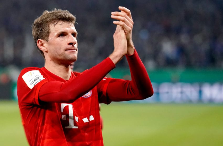 GELSENKIRCHEN, GERMANY - MARCH 3: Thomas Muller of Bayern Munchen celebrates the victory during the German DFB Pokal match between Schalke 04 v Bayern Munchen at the Veltins Arena on March 3, 2020 in Gelsenkirchen Germany (Photo by Jeroen Meuwsen/Soccrates/Getty Images)
