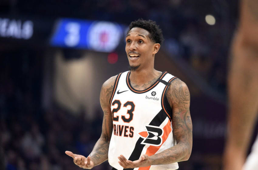 CLEVELAND, OHIO - FEBRUARY 09: Lou Williams #23 of the LA Clippers reacts after being fouled during the first half against the Cleveland Cavaliers at Rocket Mortgage Fieldhouse on February 09, 2020 in Cleveland, Ohio. NOTE TO USER: User expressly acknowledges and agrees that, by downloading and/or using this photograph, user is consenting to the terms and conditions of the Getty Images License Agreement. (Photo by Jason Miller/Getty Images)