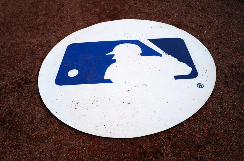 DUNEDIN, FLORIDA - FEBRUARY 27: MLB Logo on the batting mat during the spring training game between the Toronto Blue Jays and the Minnesota Twins at TD Ballpark on February 27, 2020 in Dunedin, Florida. (Photo by Mark Brown/Getty Images)