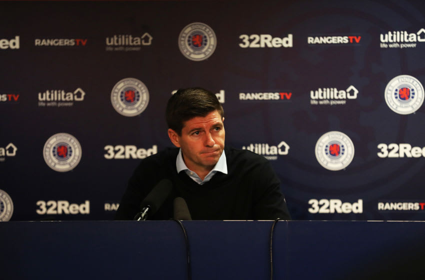 GLASGOW, SCOTLAND - MARCH 04: Rangers Manager Steven Gerrard is seen during a post match press conference during the Ladbrokes Premiership match between Rangers and Hamilton Academical at Ibrox Stadium on March 04, 2020 in Glasgow, Scotland. (Photo by Ian MacNicol/Getty Images)