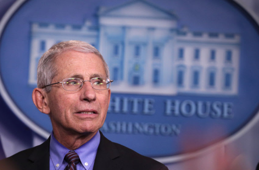 WASHINGTON, DC - APRIL 09: National Institute of Allergy and Infectious Diseases Director Anthony Fauci listens during the daily coronavirus briefing in the Brady Press Briefing Room at the White House on April 09, 2020 in Washington, DC. U.S. unemployment claims have approached 17 million over the past three weeks amid the COVID-19 pandemic. (Photo by Alex Wong/Getty Images)