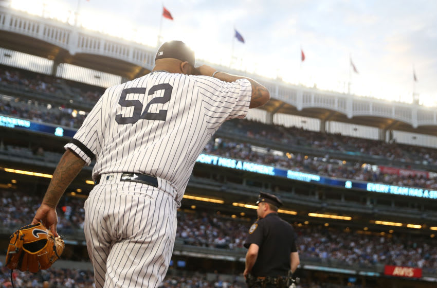 NEW YORK, NEW YORK - JUNE 24: CC Sabathia #52 of the New York Yankees takes the field against the Toronto Blue Jays at Yankee Stadium on June 24, 2019 in New York City. (Photo by Michael Owens/Getty Images)