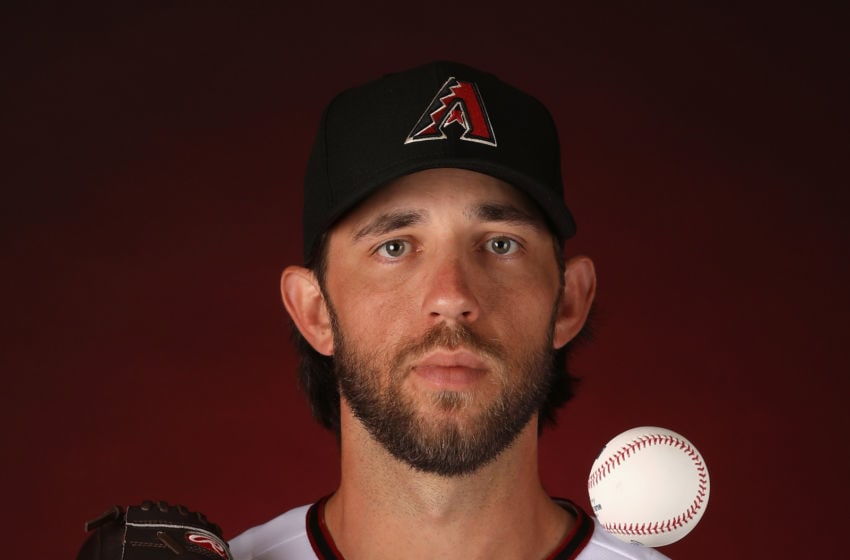 GLENDALE, ARIZONA - FEBRUARY 21: Pitcher Madison Bumgarner #40 of the Arizona Diamondbacks poses for a portrait during MLB media day at Salt River Fields at Talking Stick on February 21, 2020 in Scottsdale, Arizona. (Photo by Christian Petersen/Getty Images)
