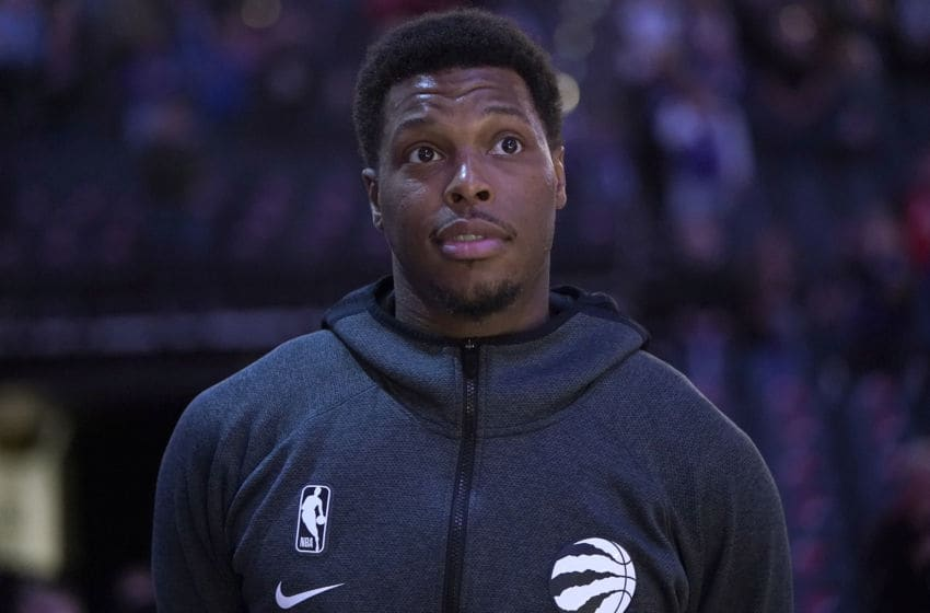 SACRAMENTO, CALIFORNIA - MARCH 08: Kyle Lowry #7 of the Toronto Raptors stands for the National Anthem prior to the start of an NBA basketball game against the Sacramento Kings at Golden 1 Center on March 08, 2020 in Sacramento, California. NOTE TO USER: User expressly acknowledges and agrees that, by downloading and or using this photograph, User is consenting to the terms and conditions of the Getty Images License Agreement. (Photo by Thearon W. Henderson/Getty Images)