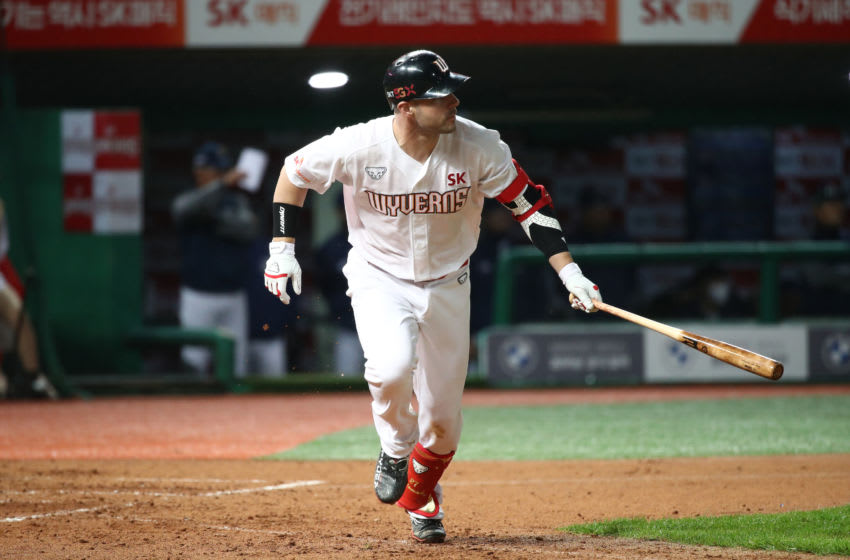 INCHEON, SOUTH KOREA - MAY 15: Infielder Jamie Romak #27 of SK Wyverns hits a double in the bottom of fourth inning during the KBO League game between NC Dinos and SK Wyverns at the Incheon SK Happy Dream Park on May 15, 2020 in Incheon, South Korea. (Photo by Chung Sung-Jun/Getty Images)