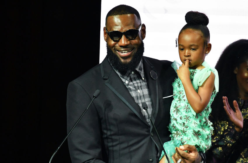 Los Angeles Lakers star LeBron James with daughter Zhuri (Photo by Slaven Vlasic/Getty Images)