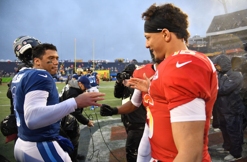 ORLANDO, FL - JANUARY 27: Russell Wilson #3 of the Seattle Seahawks shake hands with Patrick Mahomes #15 of the Kansas City Chiefs after the 2019 NFL Pro Bowl at Camping World Stadium on January 27, 2019 in Orlando, Florida. (Photo by Mark Brown/Getty Images)